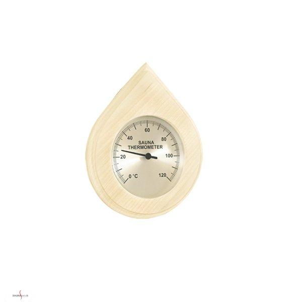 Dråbeformet saunatermometer i træramme.