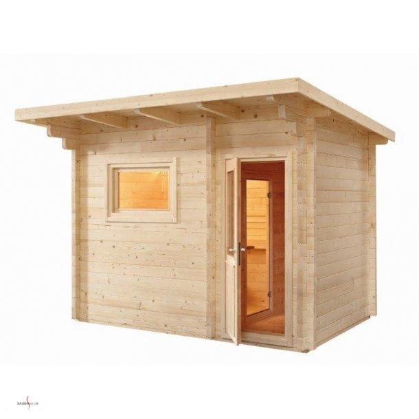 Udendørs sauna til 5-6 personer med forrum.