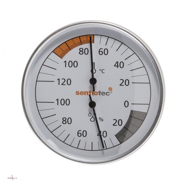 Saunatermometer og hygrometer i metalramme