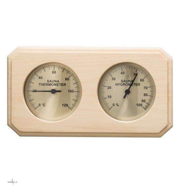 Saunatermometer og hygrometer i Asp træramme.