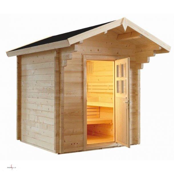Udendørs sauna til 5-6 personer.